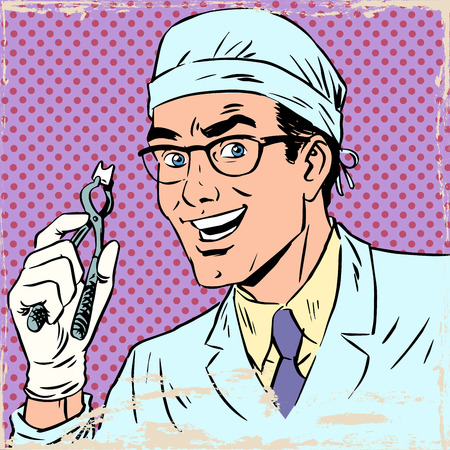 Funny dentist pulled out a tooth. Pop art retro comic book. Male health medicine. The effect of old paper Vettoriali