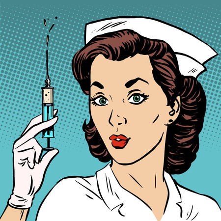syringe: Retro nurse gives an injection syringe medicine health medicine. Vaccine epidemic