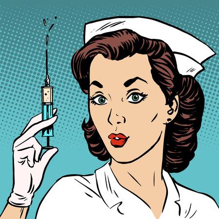 pielęgniarki: Retro Pielęgniarka daje strzykawki Medycyna leku. Epidemia szczepionki