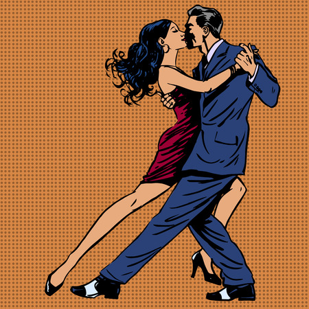 latin couple: man and woman kiss dance tango pop art