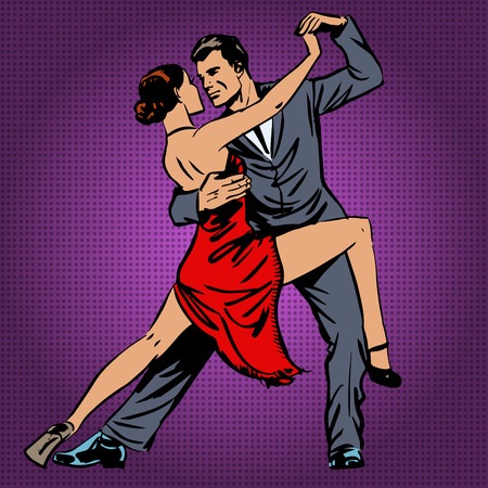 dance music: man and woman passionately dancing the tango pop art