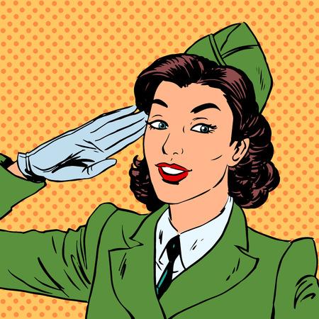 Woman Pilot Stewardess Form salutiert Kunst Comics Retro-Stil Hal