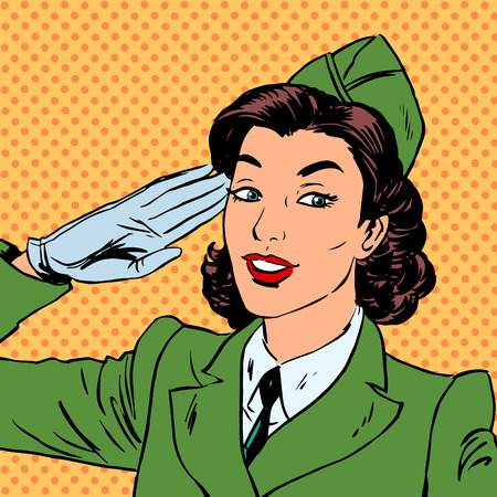 army girl: Woman pilot stewardess shape salutes art comics retro style Hal