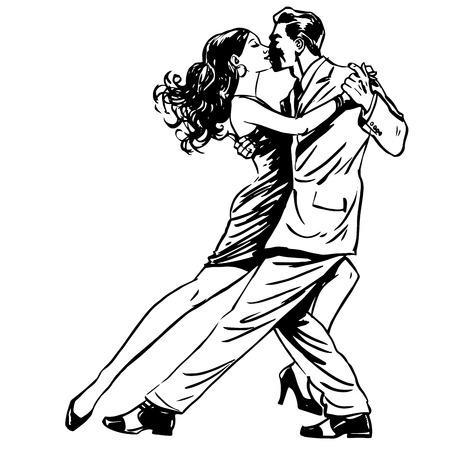 baile latino: Hombre beso y una mujer bailando pareja de tango línea arte retro