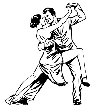 Man and woman dancing couple tango retro line art Illustration