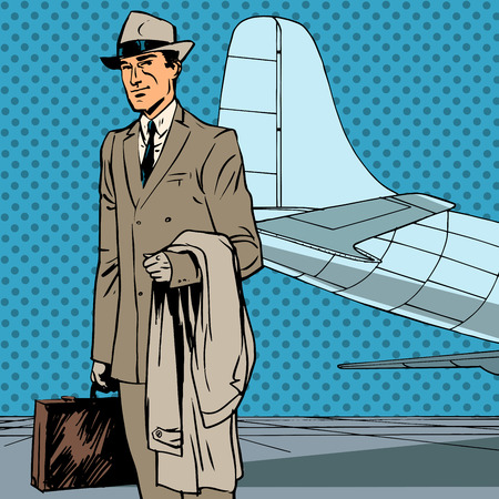 Male passenger air traveler business trip businessman pop art re Illustration