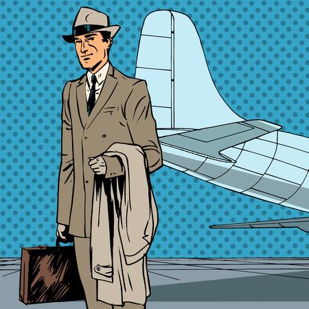 viaje de negocios: Viajero a�reo de pasajeros viaje de negocios hombre de negocios de arte pop re Masculino Vectores