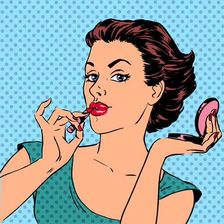 pop art woman: Girl paints lips with lipstick cosmetics beauty perfumes pop art