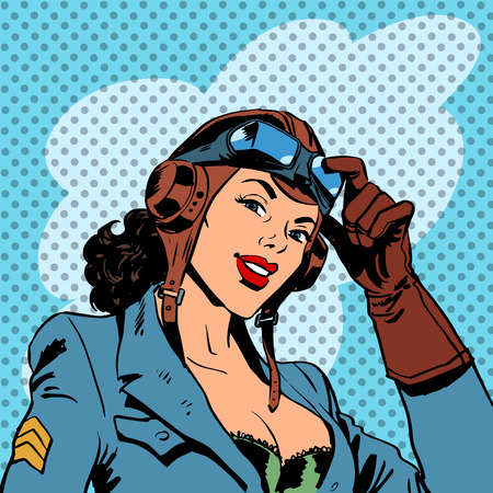 vintage woman: Pin up girl pilot aviation army beauty pop art retro