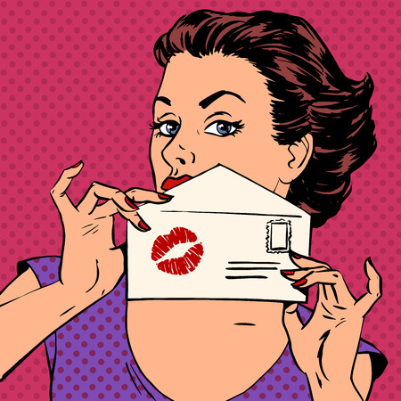 art contemporary: girl with envelope for letter and kiss lipstick pop art