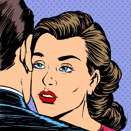 Vrouw knuffelen man met de droefheid droevig gezicht afscheid liefde Dating Stock Illustratie