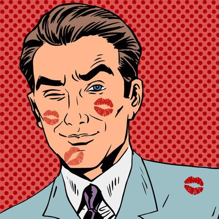 beso: Las huellas de un beso en la cara del hombre del arte pop retro Vectores