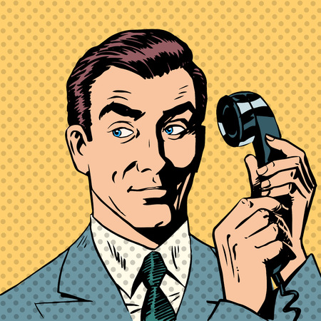 empresario: Hombre de negocios hablando en el estilo del tel�fono del arte pop retro