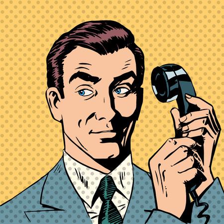 coiffer: Homme d'affaires parlant sur le pop art style rétro téléphone Illustration