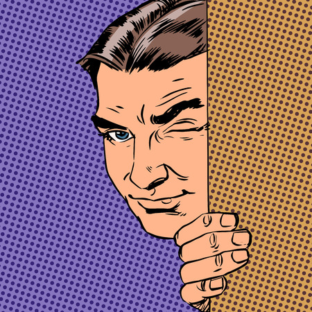 Man spy keeps peeking out from behind the wall style pop art ret