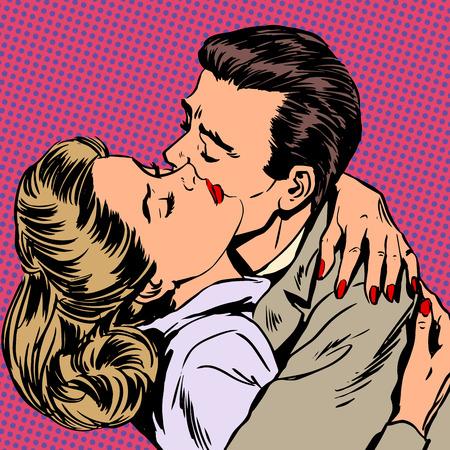 секс: Страсть мужчина и женщина обнять любовь стиль отношения поп-арт ретро Иллюстрация