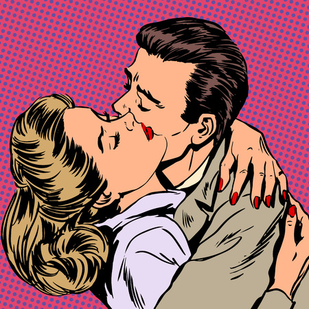 Passion man woman embrace love relationship style pop art retro Ilustração
