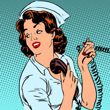 medico caricatura: Salud teléfono del hospital Enfermera estilo cirugía médica del arte pop retro Vectores