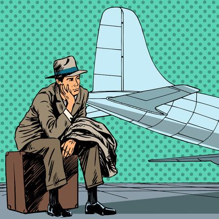 piloto: Hombre de pasajeros a la espera de un vuelo en el aeropuerto de viaje s Vectores