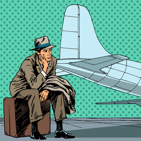 comic art: Male passenger waiting for a flight at the airport travel trip s