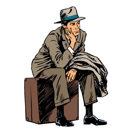 reise retro: Männlichen Passagier wartet reise Retro-Stil Illustration
