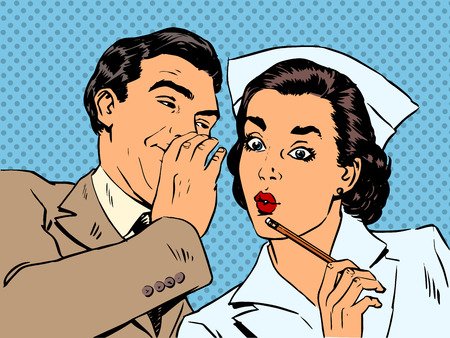 pop art woman: diagnosis patient nurse and male gossip surprise conversation st