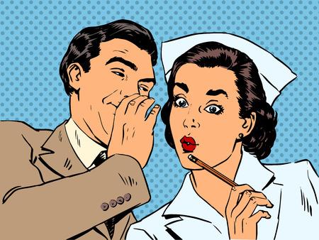 hospital dibujo animado: el diagnóstico del paciente y la enfermera de sexo masculino conversación chisme sorpresa st