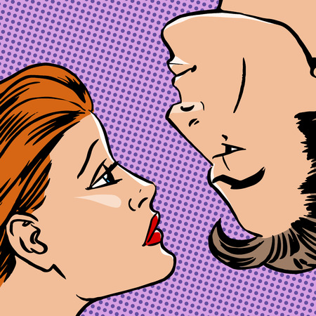 Girl and boy face to face the love of youth beauty Halftone style art pop retro vintage Vector