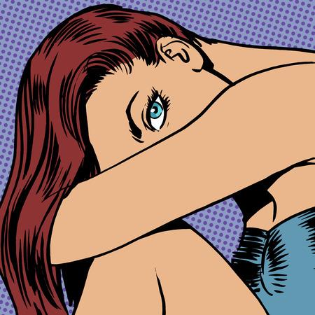 intense: Bella ragazza con lunghi capelli sguardo � intenso bellezza della giovent� di semitono stile di arte pop retr� vintage