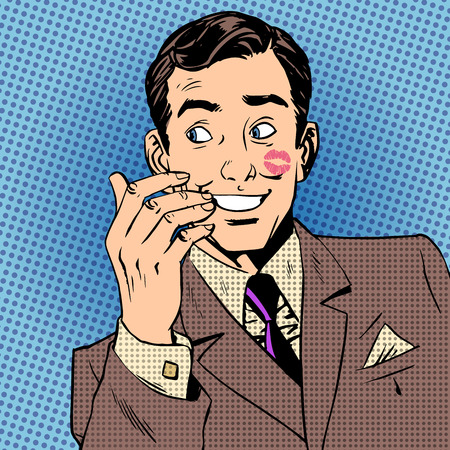 Playboy man with a kiss on the face with red lipstick Halftone style art pop retro vintage  イラスト・ベクター素材