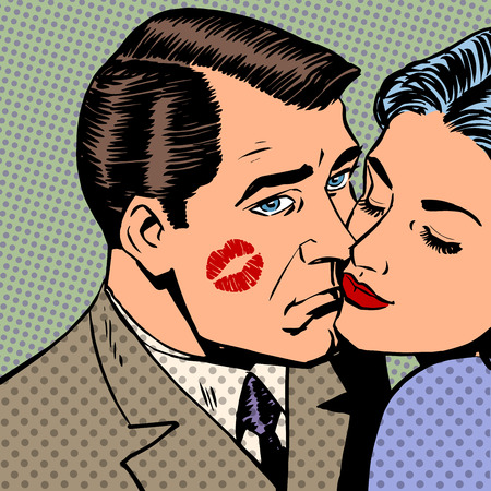 adult comic: Sad man with traces of a kiss on the face and a woman Halftone style art pop retro vintage. The man pressed face to face women. Love and parting
