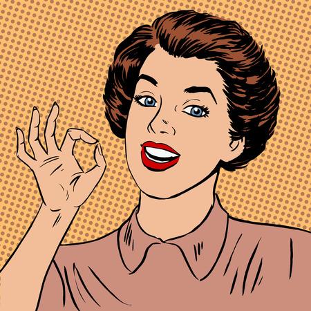 kunst: Frau zeigt in Ordnung Geste gut die Qualität ist völlig in Ordnung, Halbton-Stil art pop retro vintage
