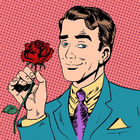 Man bloem Dating liefde ontmoeten art pop retro vintage Stockfoto - 41079353