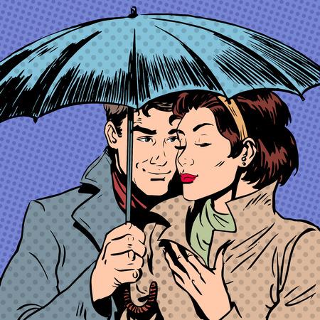 sotto la pioggia: Pioggia uomo e la donna sotto l'ombrello relazione romantica courtshi Vettoriali