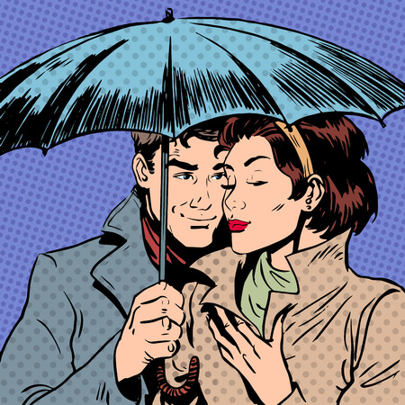 retro man: Rain man and woman under umbrella romantic relationship courtshi