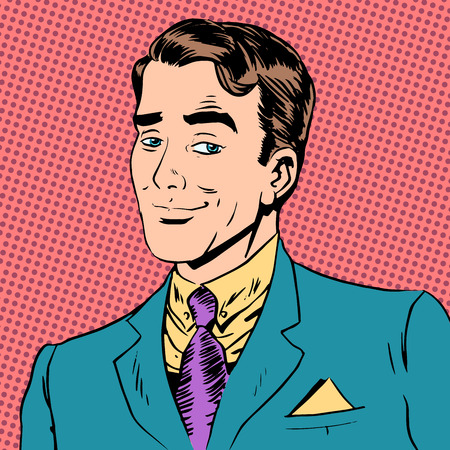 comic art: Elegant man a gentleman flirting love the look art pop retro vin