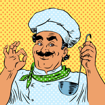 retro cartoon: The cook in the kitchen the taste of food quality of a restaurant chef. The man smiles professional