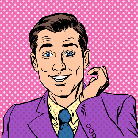 華やかな男 mod ハンサムな礼儀正しい主要なプレイボーイ。若い男のピンクのブレザー。中立的なピンクの背景