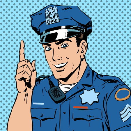 police cartoon: A police officer warns draws the attention of the profession the man smile law and order. The man is encouraged to follow the rules