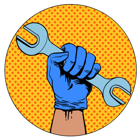 hand holding: Sign of repair of the hand holding the wrench symbol pictogram