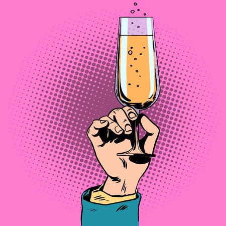 Feestelijke toast met een glas champagne wijn in zijn hand. Drink alcohol bruiloft evenement jubileum Stock Illustratie