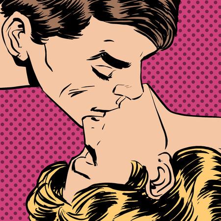 young couple sex: Мужчина и женщина поцелуй любовные отношения романтика Иллюстрация