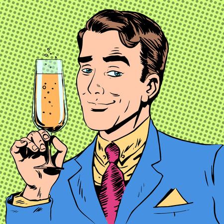 enamorados caricatura: Un hombre con un vaso de champ�n cita brindar por la ocasi�n. El caballero elegante con el vino Vectores