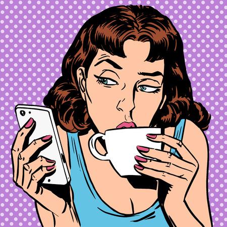 historietas: Martes muchacha mira smartphone de beber té o café. Hora de comer por la mañana el resto de la noche