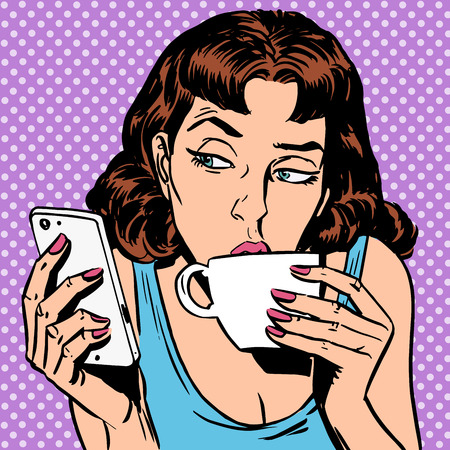 vintage phone: Tuesday girl looks at smartphone drinking tea or coffee. Lunchtime morning the rest of the evening
