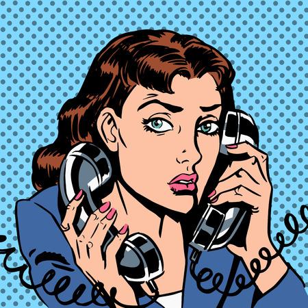 secretarias: Miércoles chica en dos teléfonos que ejecutan Office Manager Secretario de bonos. El Gerente responde a la tensión de carga del teléfono