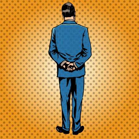 standing man: The man in the blue suit is back. Vintage retro orange background Illustration