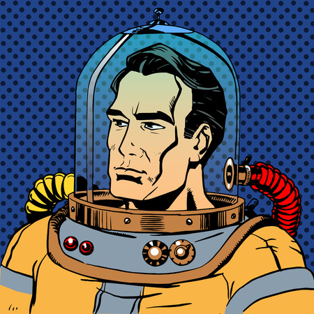 manly: Manly man astronaut in a spacesuit. Retro style star traveller sci-Fi space adventure Illustration