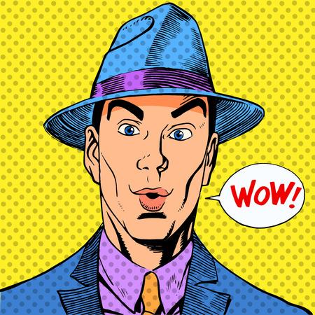 zaskoczony elegancki zabawny człowiek dżentelmen w kapeluszu w stylu retro Ilustracje wektorowe