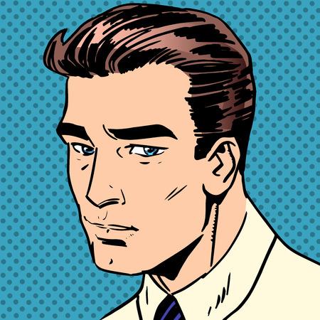 homme triste: Assez triste l'homme ne sourit pas la tristesse de style rétro